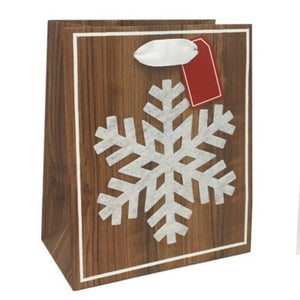 Petite Felt Snowflake Wood Grain Christmas Gift Bag