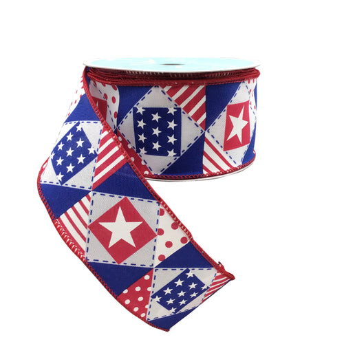 Patriotic Patchwork Ribbon On Royal