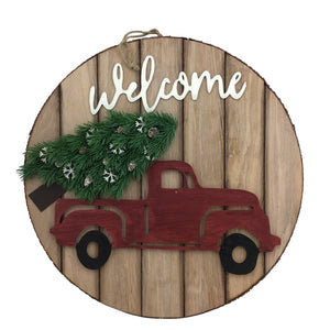20 Inch Round Styrofoam Plaque with Red Truck