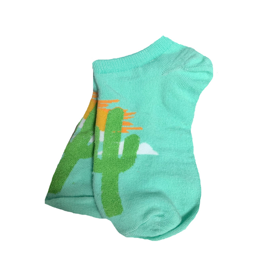 Women's Socks with Cactus & Sunrise Design