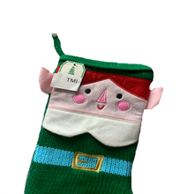 Emerald Green Stitched Stocking with Elf Face Design