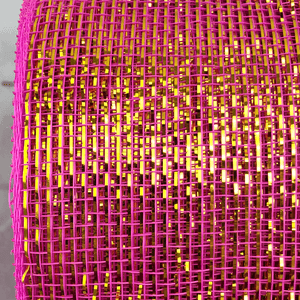 "3"" x 20 YDS Designer Netting - Hot Pink With Gold Glamour"