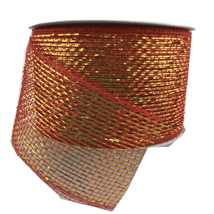 "3"" x 20 YDS Designer Netting - Red With Gold Glamour"