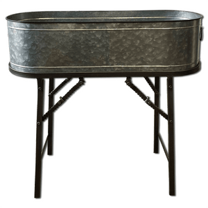 "30"" Galvanized Metal Container with Stand"