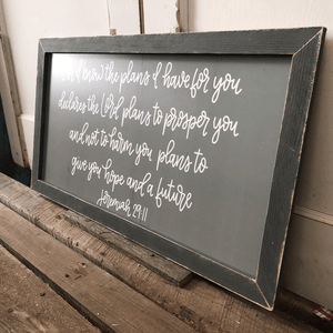 "31"" Gray Wooden Frame For I Know The Plans Wall Art"