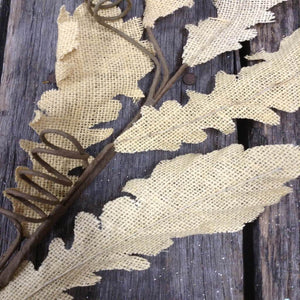 "36"" Burlap Leaf Spray - Cream"