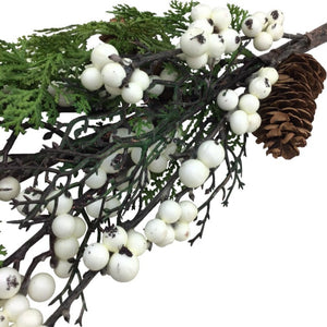 30 Inch Pine, Pinecone, And White Berry Spray