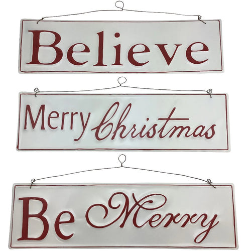 Red And White Enamel Holiday Sign- 3 Assorted