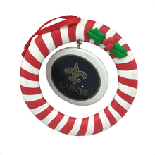 "4"" Candy Cane Wreath with Saints Logo Christmas Ornament"