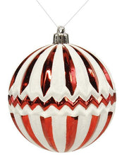 "4"" Glittered Chevron Stripes Ball Ornament - Red & White"