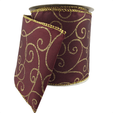"4"" x 10 YDS Burgundy Pauline Ribbon With Gold Swirls"