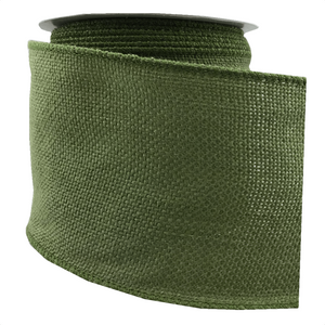 "4"" x 10 YDS Faux Burlap Ribbon - Moss Green"