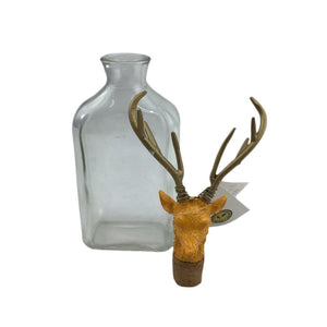 "4"" x 12"" Glass Bottle w/ Deer Head Stopper"