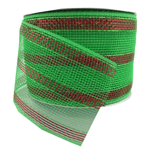 "4"" x 25 YDS Designer Netting - Green & Red Striped Glamour"