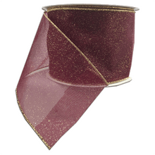 "4"" x 30 YDS Wired Burgundy Dusting Ribbon"
