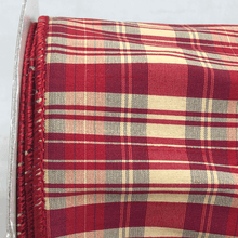 "4"" x 5 YDS Dupion Plaid Ribbon - Red"