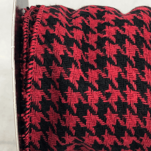 "4"" x 5 YDS Houndstooth Ribbon - Red/Black"
