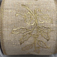 "4"" x 5 YDS Natural Burlap Ribbon With Gold Holly Embroidery"