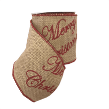 "4"" X 5YDS Burlap ""Merry Christmas"" Ribbon"