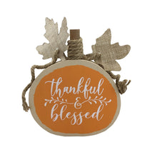 9 Inch Thankful and Blessed Round Sitting Pumpkin