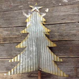 "43.5"" Galvanized Corrugated Metal Christmas Tree"