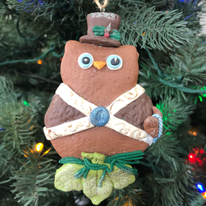 "4.75"" Clay Dough Winter Owl Ornament"