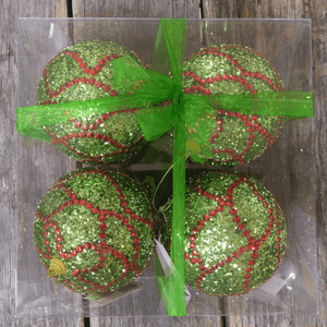 "4.75"" Glittered Green With Red Curves Ornament Ball - Pack of Four"
