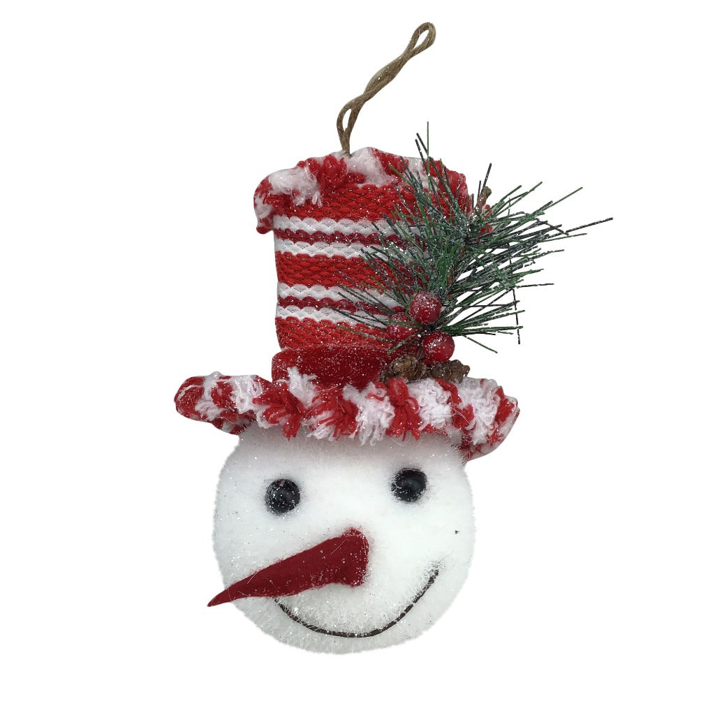 Snowman Head With Red White Striped Hat 6 Inch Ornament