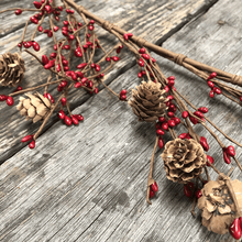 5' Red Mini Berries & Pinecone Garland
