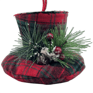 "5.3"" Plush Hat Ornament - Red/Green Plaid"