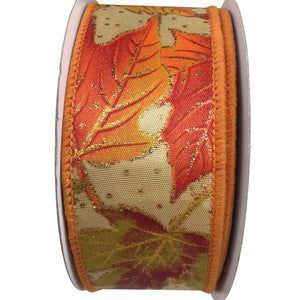 Maple Leaves Ribbon With Glitter On Satin