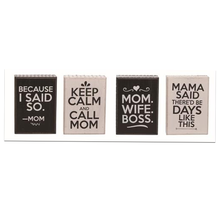 "5.5"" Dark Brown/Cream ""Mom Quote"" Decor Block - 4 Styles"