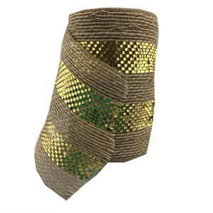 "5.5"" x 10 YDS Poly Burlap Mesh Ribbon With Gold Center"