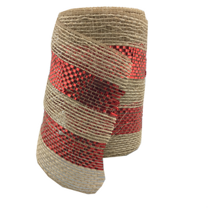 "5.5"" x 10 YDS Poly Burlap Mesh Ribbon With Red Center"
