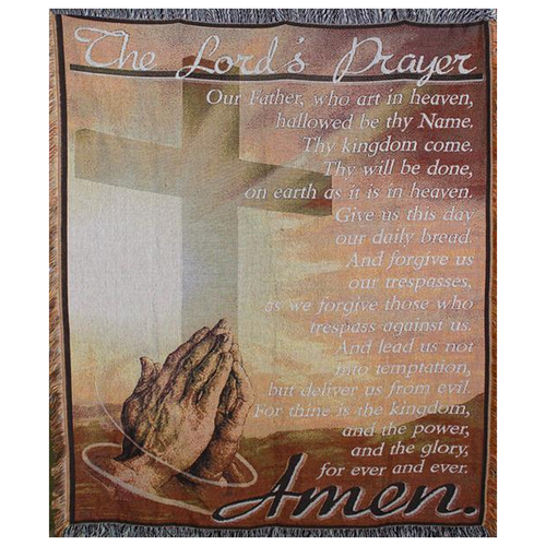 59 Inch Lord's Prayer Cross Afghan Throw