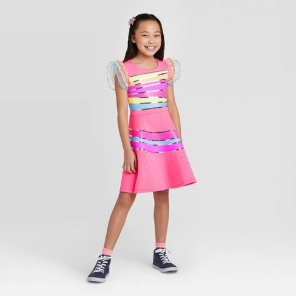 Girls JoJo Closet Asymmetrical Striped Dress