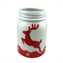 "6"" Red and White Ceramic Deer Jar"