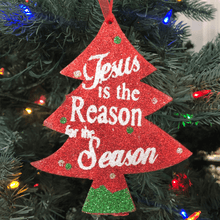 "6"" Red Glittered Tree Ornament - Jesus is the Reason..."