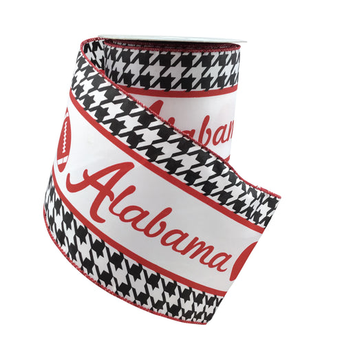 Alabama Ribbon With Football And Helment  4 Inch Wide