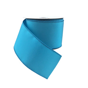 Two And Half Inch Turquoise Ribbed Satin Ribbon