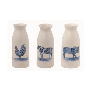 "7"" Ceramic Farm Animal Milk Jug Vase- 3 Styles"