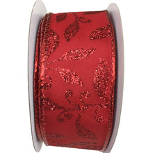 Red Ribbon With Red Glitter Leaves