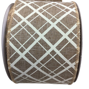 Natural Linen Criss Cross Plaid Ribbon