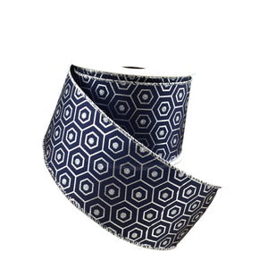 Hexagon Navy And Silver Ribbon
