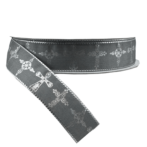 "7/8"" x 25 YDS Silver Cross Ribbon"