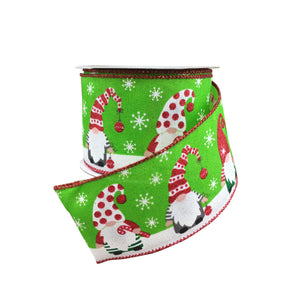 Red Linen Christmas Gnomes Ribbon