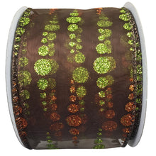 Sheer Chocolate Ribbon With Copper And Green Glitter Dots