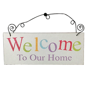 "8.5"" x 3.25"" ""Welcome To Our Home"" Wood Hanging Sign"
