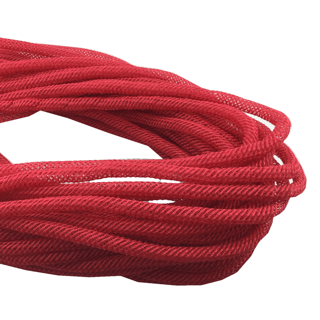8mm x 30 YDS Jute Flex Tubing - Red With Iridescent Foil