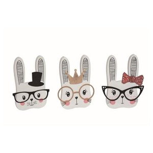 "9.75"" Wooden Bunny With Glasses Wall Decor - 3 Styles"